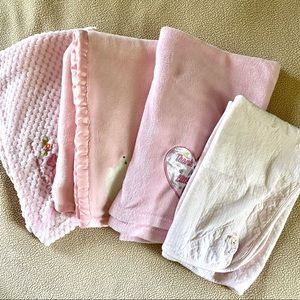 Lot of Baby Pink Blankets Soft Bundle 4 Count